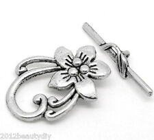 Wholesale Lots Silver Tone Flower Toggle Clasps 30mmx6mm 30mmx20mm
