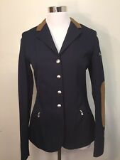 Cavallo Galana Midnight Blue W/Brown Patches Women's Dressage Show Coat New