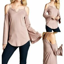 Solid Bell Sleeves Open Shoulder V Neck Cut Tunic Top Casual Cotton Cute S M L