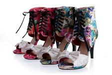 Women's Floral Peep Toes Shoes High Heels Pumps Zip Lace Up Sandals All Size 05