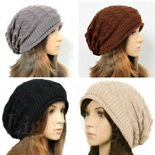 New Women Winter Plicate Baggy Beanie Knit Crochet Ski Hat oversized Xmas Cap 20