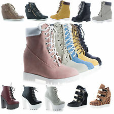 Bradley Lace Up Hidden High Wedge Heel Fashion Ankle Boots