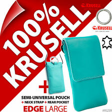New Krusell Edge Blue Genuine Leather Mobile Pouch Case Cover + USB Car Charger