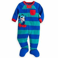 Disney Store Baby Boy's Striped MICKEY MOUSE Blanket Sleeper *NWT*