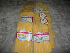 Yellow Kitchen Towels Dish Cloths Oven Mitts Clean Wash Dry Cook NEW!