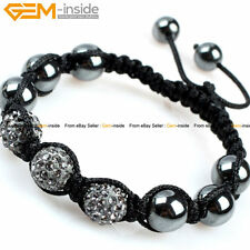 "10mm CZ Pave Disco Ball Beads Hematite Hand-woven Bracelet 6""-8"", Free Gift Box"