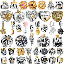Hot Plated Gold European Bead 925 Silver Charms Fit Authentic Sterling Bracelets