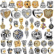 Hot Jewelry Plated Gold European Bead 925 Silver Charms Fit Authentic Bracelets