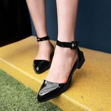 Women Faux Patent Leather Low Block Heel Pointy Toe Slingback Pumps Sandals A009