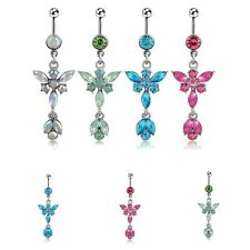 Surgical Steel Butterfly Crystal Dangle Belly Button Barbell Navel Ring Piercing