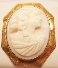 VICTORIAN 10k YELLOW GOLD ETRUSCAN ANGEL SKIN CORAL CARVED CAMEO BROOCH PIN 8 gm