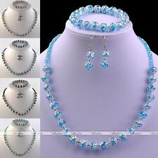 Crystal Glass Round Flower Spacer Beads Necklace Bracelet Earrings Jewelry Set