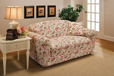 PINK FLORAL LOVESEAT COVER-ALSO COMES IN SOFA COUCH CHAIR RECLINER FUTON SLIP