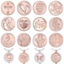 33MM DIY Rose Gold Coins Round Floating Charms Pendant For Locket Necklace Chain