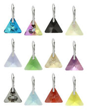 Sterling Silver Earrings Made with Genuine SWAROVSKI 6628 Triangle 16mm Crystals
