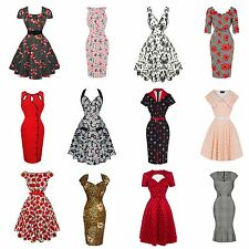 Womens Ladies New Clearance Vintage 1950s Rockabilly Party Prom Tea Dress UK