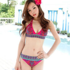 New Sexy Womens Halter Padded Bikini Set Floral Swimwear Bathing Suit XS S M 1D4
