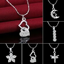 Wedding Silver Crystal White Gold Filled Flower Heart Dragonfly Pendant Necklace
