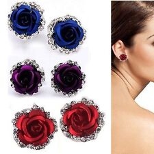 1 Pair Women White Gold Filled Rose Flower Crystal Rhinestone Ear Stud Earrings