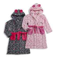 Girls Animal Print Soft Fleece Hooded Dressing Gown Ages 7,8,9,10,11,12,13 NEW