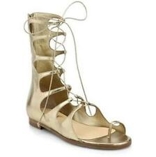 Christian Louboutin SPARTY Metallic Gold Flat Gladiator Lace Sandals Shoes $1295