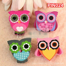 Pack of 4 Owl Funny Wooden Badges Pins Kids Costumes Toy Xmas Gift Party Supply