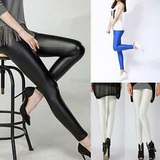 Fashion Women Faux Leather Stretchy Skinny Leggings Slim Tight High Waist Pants