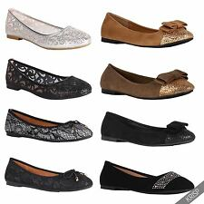 Women Glitter Ballerina Shoes Slip On Ballet Dolly Pumps Ladies Flats Flat Heels