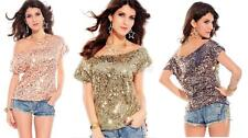 One Size Women Sequins Casual Short Sleeve Sexy Shirt Tops Blouse Ladies Tee Top