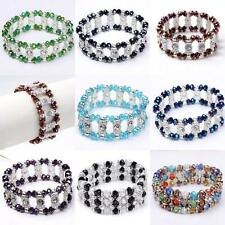 1PC Crystal Glass Rondelle Beads Bracelet Bangle Stretchy Cuff Wristband Gift