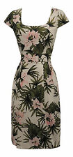 New VTG 1940's 50's Style Tropical Aloha Floral Pencil Shift Retro Dress