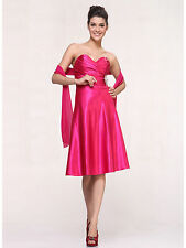 Strapless Short Cocktail Dresses Sweetheart Bridesmaids Homecoming Satin XS~3XL
