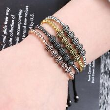 Low Price Men's Gold Plated 5& 8mm Micro Pave CZ Beads Braided Macrame Bracelet