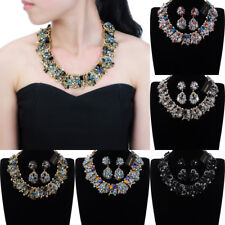 Vintage Style Gold Chain Multi-Color Glass Chunky Choker Statement Bib Necklace