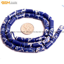 "GEM-inside 6x13mm Tube Crazy Lace Agate Onyx GEM Loose Beads 15"" Dyed Navy Blue"