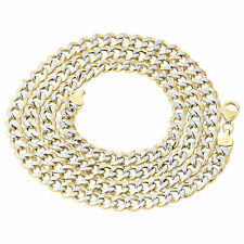 1/10th 10K Yellow Gold Diamond Cut Curb Cuban Link Chain Necklace 7mm 18-30 Inch