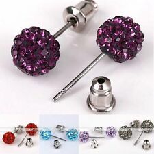 2x 6mm 8mm Czech Crystal Stainless Steel Disco Ball Style Charm Ear Stud Earring