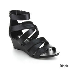 DIVIANA NICKI-16 Women's Criss Cross Strappy Back Zip Wedge Sandals