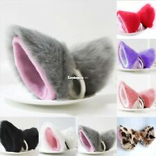 Cat Fox Long Fur Ears Neko Costume Hair Clip Orecchiette Cosplay Party Halloween