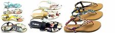 Women's New Magazine Flower Print & Gladiator Thong  Sandal Slipper Shoe Sz 6-10