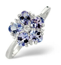 9K White Gold 0.03ct Diamond & 0.90ct Tanzanite Ring   Sizes K-S Made in London