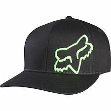 NEW FOX FLEX 45 FLEXFIT HAT FLEX FIT BLACK GREEN CAP HAT LID MENS ADULT GUYS