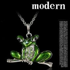 Retro 6Colors Frog Enamel Crystal Pendant Long Chain Sweater Necklace Women Gift