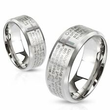 Lord's Prayer Laser Etched Over Brushed Finished Beveled Stainless Steel Ring