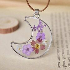 Moon Wish Necklace Natural Real Pressed Flower Dried Plant Resin Glass Pendant