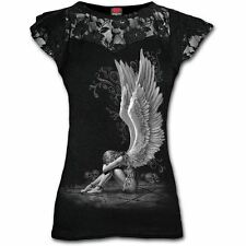Spiral Direct Enslaved Angel Wings Lace Neck Black Fitted Viscose Tshirt Top