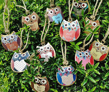 NEW VINTAGE STYLE HANGING OWL HEART DECORATION METAL OWLS GIFTS