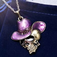 New HIPHOP Cowboy Skull 6colors Crystal Enamel Pendant Sweater Necklace Chain