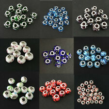 Murano Lampwork Glass Beads With Silver Plated Fit European Charm Bracelets
