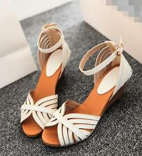 Women's strappy sandals mid wedges shoes ankle strap free shipping 3 colors A201